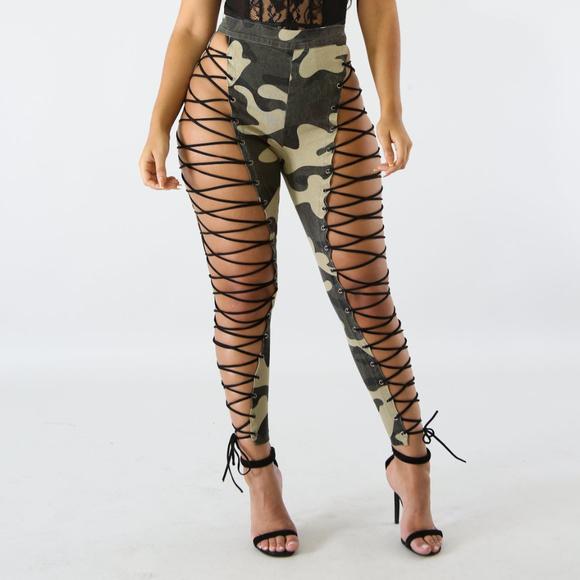 d968cd0431bce Pants | Womens Lace Up Camo Legging | Poshmark